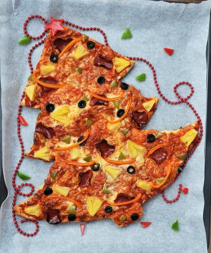 A Christmas tree shaped pizza