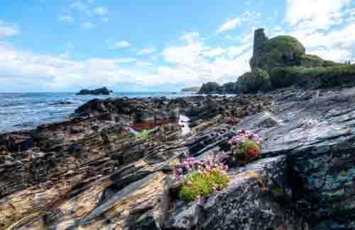 Lagavulin Bay and Dunyvaig Castle on Islay
