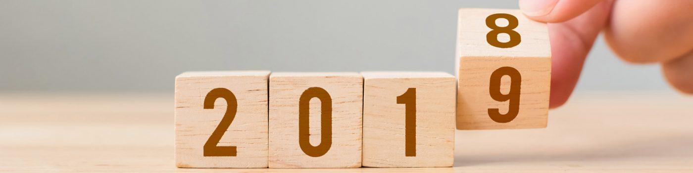 2018 turning to 2019 on wooden blocks
