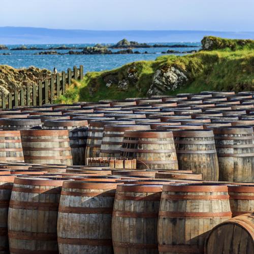 Whisky barrels on Islay in Scotland