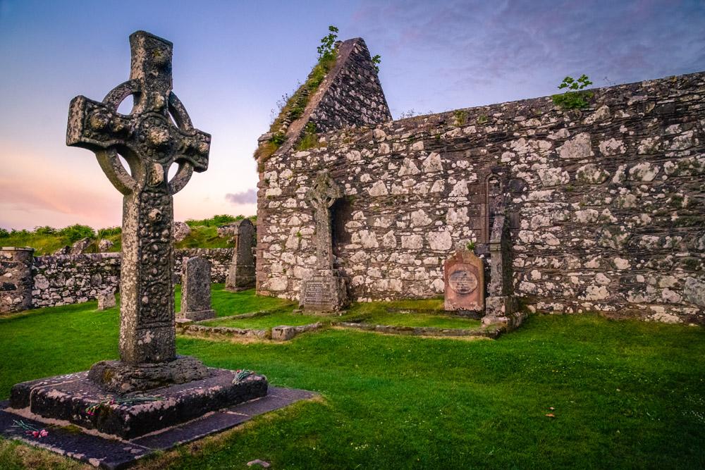 Kildalton Cross and church ruins on Islay